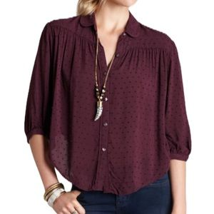 Free People Clip Dot Dobby Sparrow Blouse